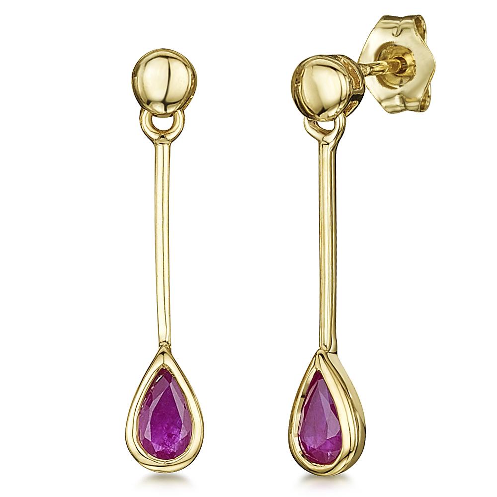 9ct Gold Pearshape Ruby Drop Earrings 4mmx23mm
