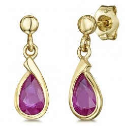 9ct Gold Ruby Set Drop Earrings 4mm x 12mm