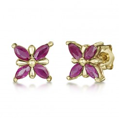 9ct Gold Butterfly Patterned Ruby Set Stud Earrings 7mm x 7mm