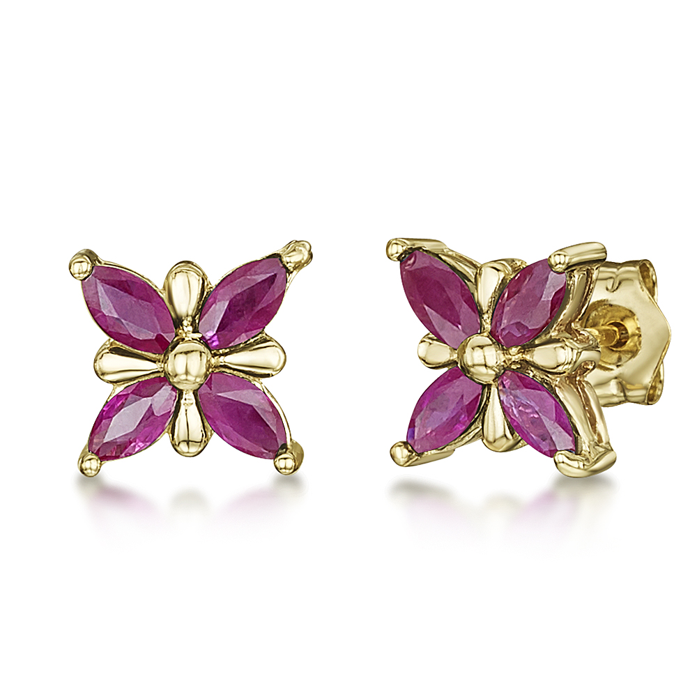 9ct Gold Butterfly Patterned Ruby Set Stud Earrings 7mm x 7mm