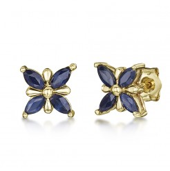 9ct Gold Butterfly Patterned Blue Sapphire Stud Earrings 7mm