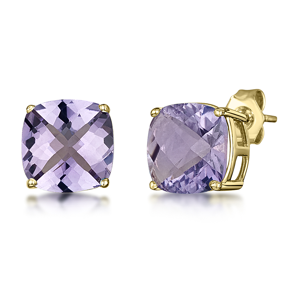 9ct Gold Cushion Chequerboard Cut Amethyst Claw Stud Earrings 8mm