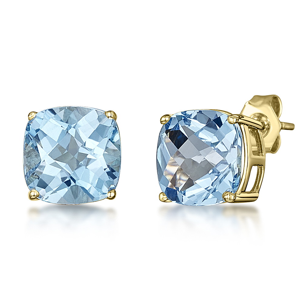 white topaz with stud gold in earrings blue