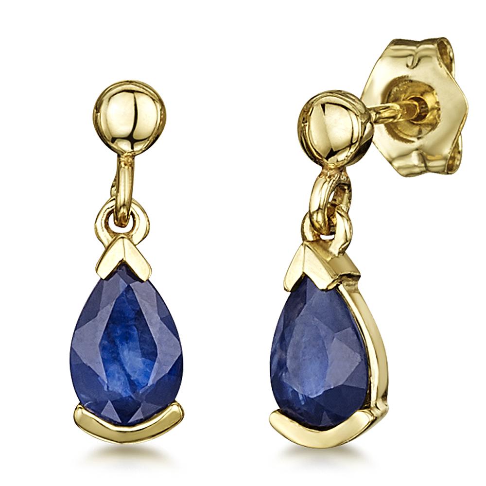 9ct Yellow Gold Real Sapphire Drop Earring eTcfXJ