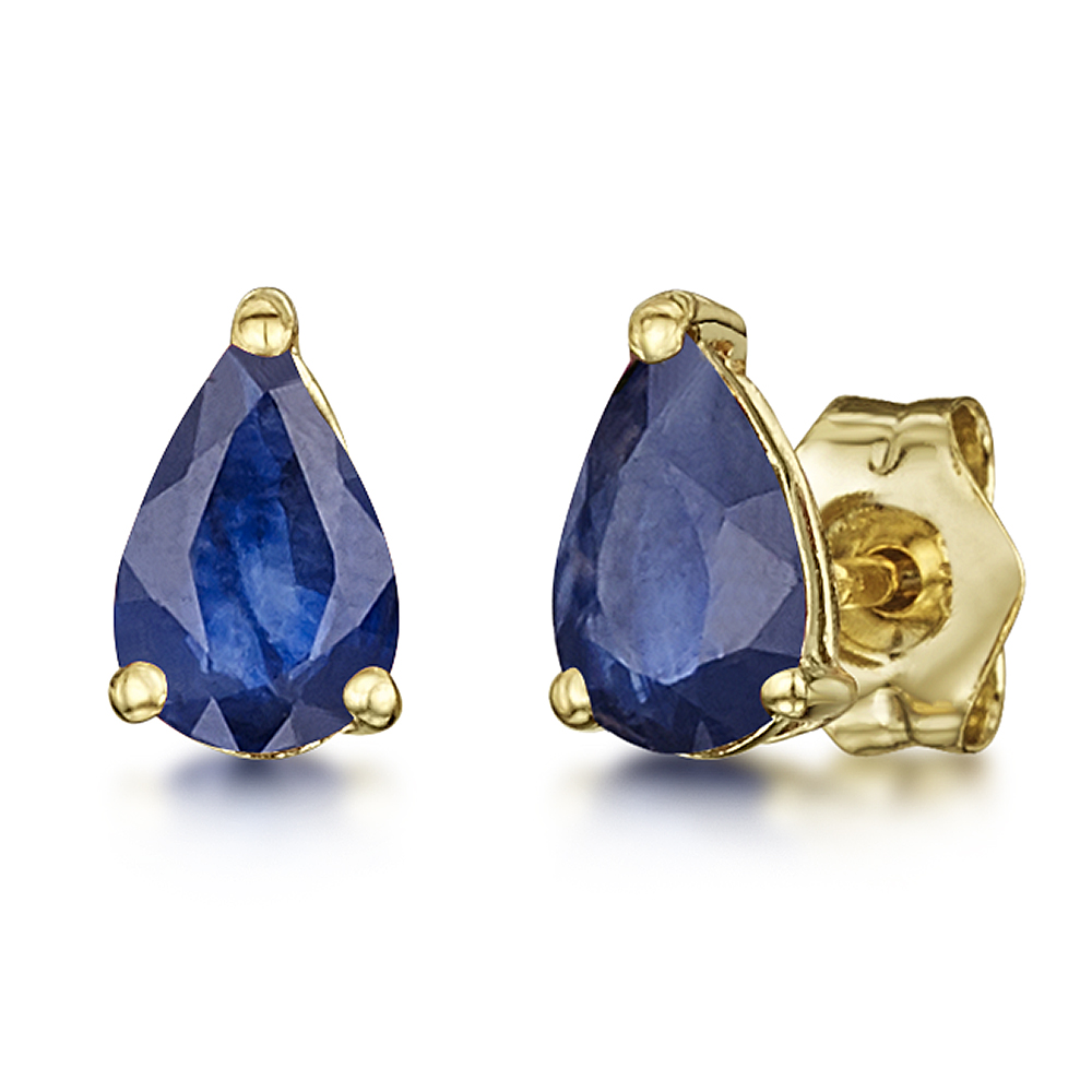 9ct Yellow Gold Blue Sapphire Claw Set Stud Earrings 6x4mm