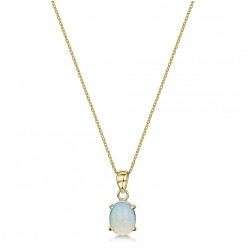 9ct Yellow Gold Opal Oval Pendant & 18'' Chain 6x4mm