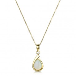 9ct Yellow Gold Opal Pendant and 18'' Inch Chain 16 x 8mm