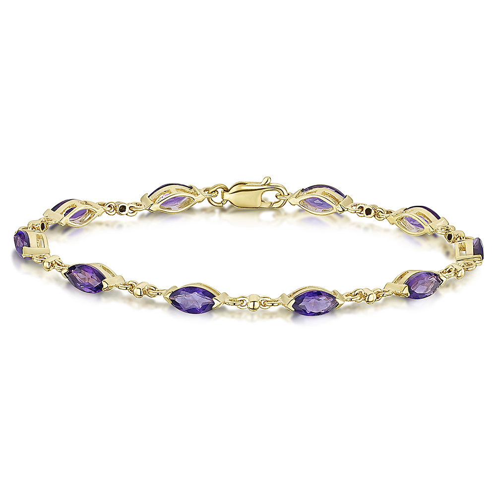 9ct Yellow Gold Amethyst Bracelet 9ct Gold Bracelets At