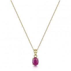 9ct Gold Oval Ruby Claw Set Pendant & 9ct Gold 18'' Chain 7x5mm