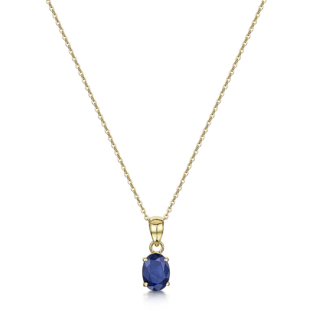 9ct Yellow Gold Blue Sapphire Oval Claw Set Pendant & Chain