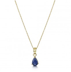 9ct Yellow Gold Blue Sapphire Pendant and 18'' Inch Chain