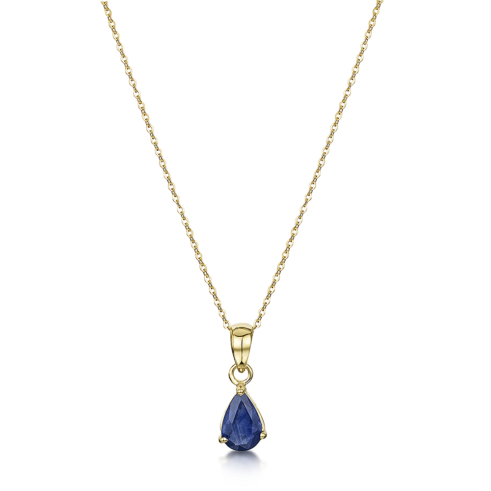9ct yellow gold blue sapphire pendant and 18 inch chain 9ct gold 9ct yellow gold blue sapphire pendant and 18 inch chain aloadofball Choice Image