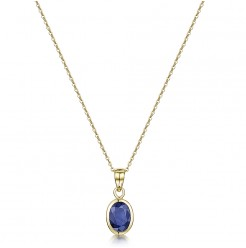 9ct Yellow Gold Blue Sapphire Rubover Set Oval Pendant & 18'' Chain
