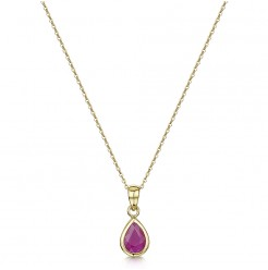 9ct Gold Pearshape Rubover Set Ruby Pendant & 9ct Gold 18'' Chain 7x5mm