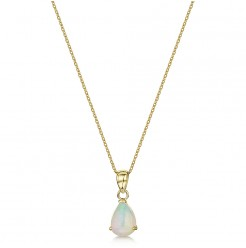 9ct Yellow Gold Opal Pearshape Pendant & 18'' Chain 6x16mm