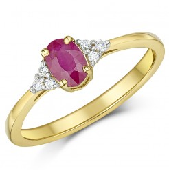 9ct Yellow Gold Diamonds & Ruby Ring Sizes K-Q