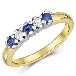 9ct Yellow Gold Blue Sapphire and Diamond Half Eternity Ring Sizes K-Q