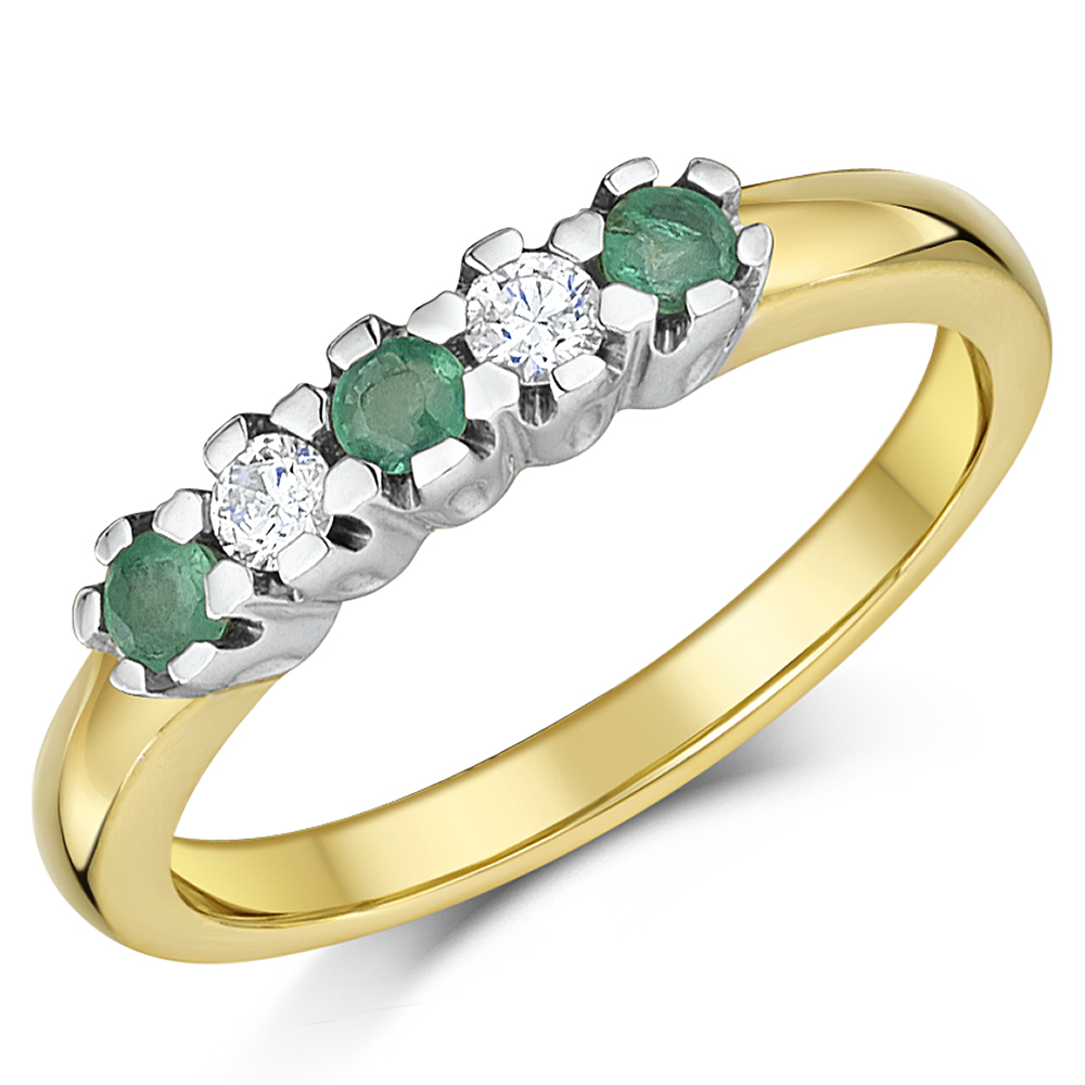 9ct Yellow Gold Diamonds and Emerald Half Eternity Ring Sizes K-Q