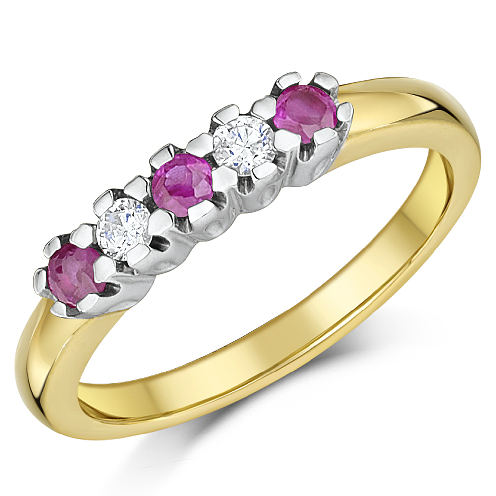 9ct Yellow Gold Diamonds and Ruby Half Eternity Ring