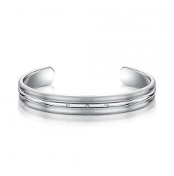 Titanium Polished Centre Diamond Cuff Bangle