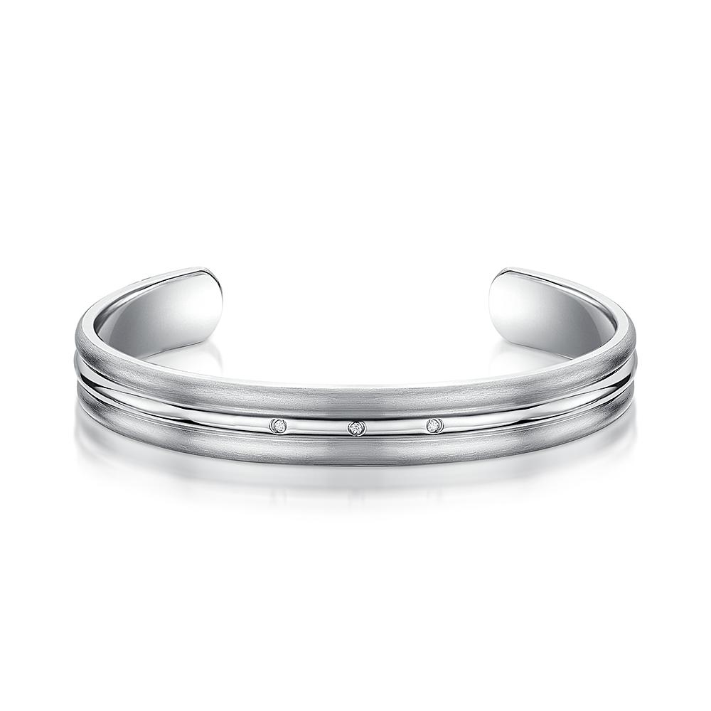 Titanium Polished Centre Diamond Cuff Bangle