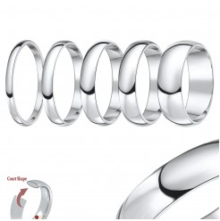 2mm-8mm 950 Palladium ''Court'' Shaped Wedding Ring