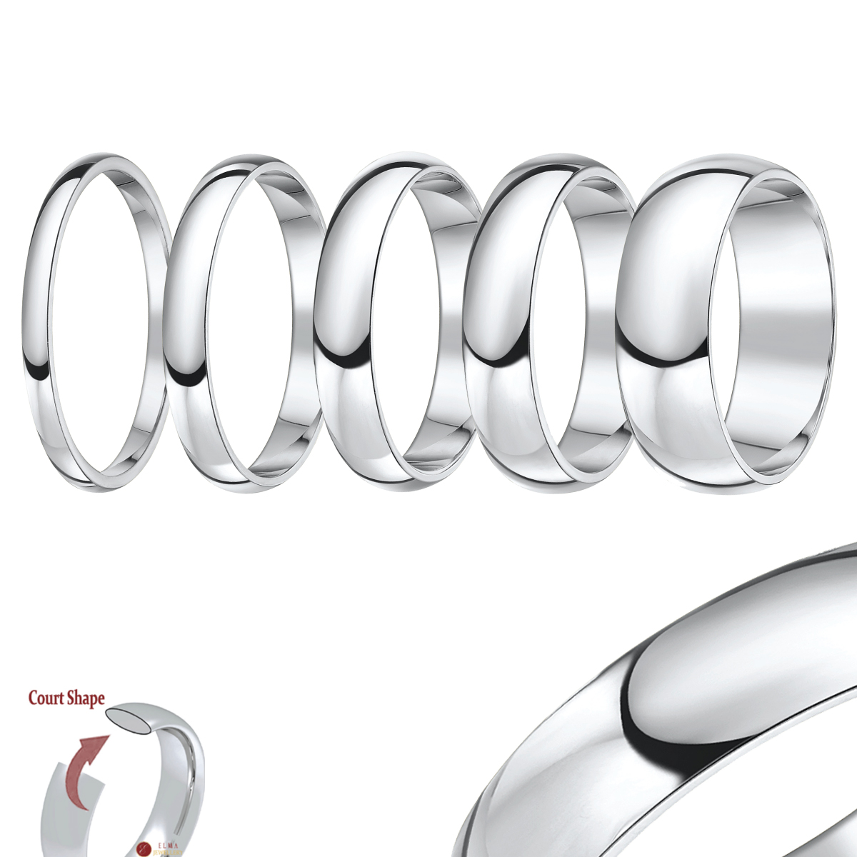 Cobalt Wedding Rings Traditional Court (comfort fit) Shape