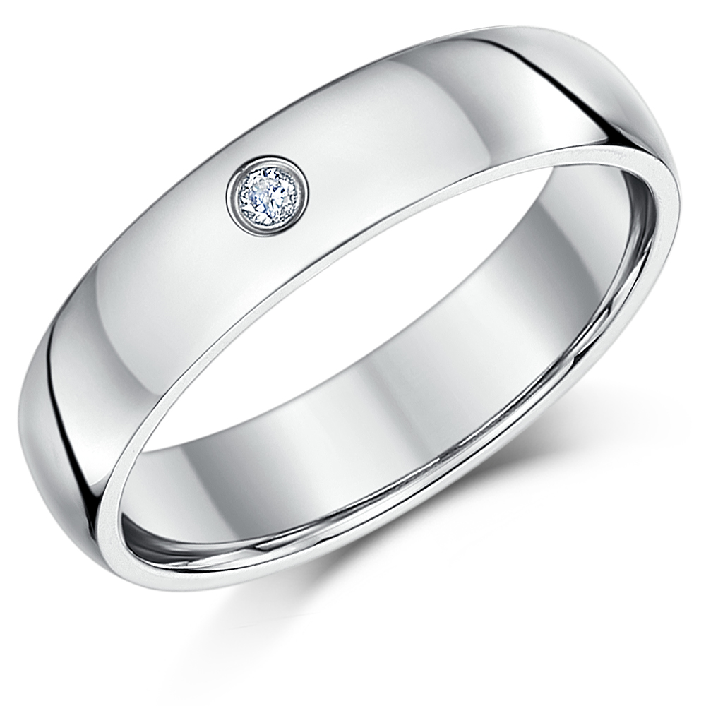 5mm Palladium Diamond Heavy Court Wedding Ring Band