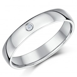 4mm Palladium Diamond Heavy Court Wedding Ring Band