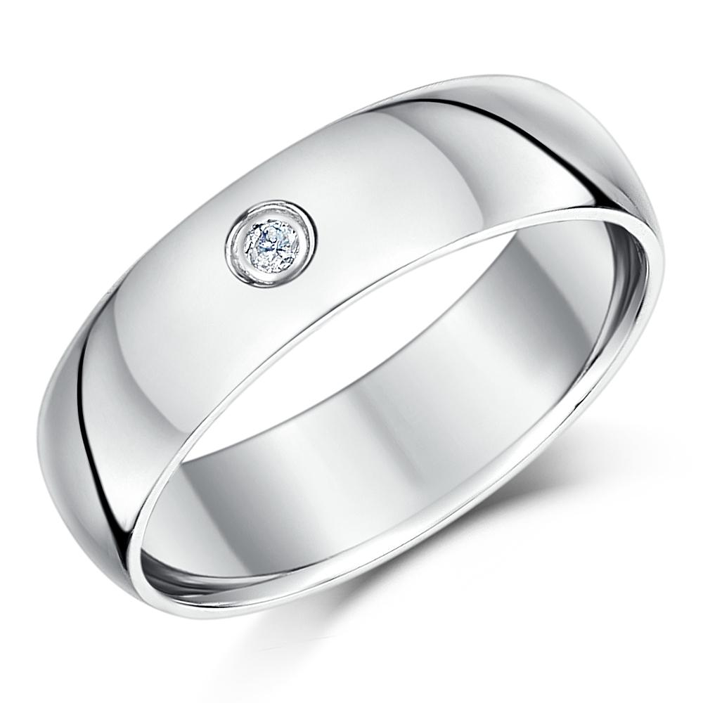 6mm Palladium Diamond Heavy Court Wedding Ring Band