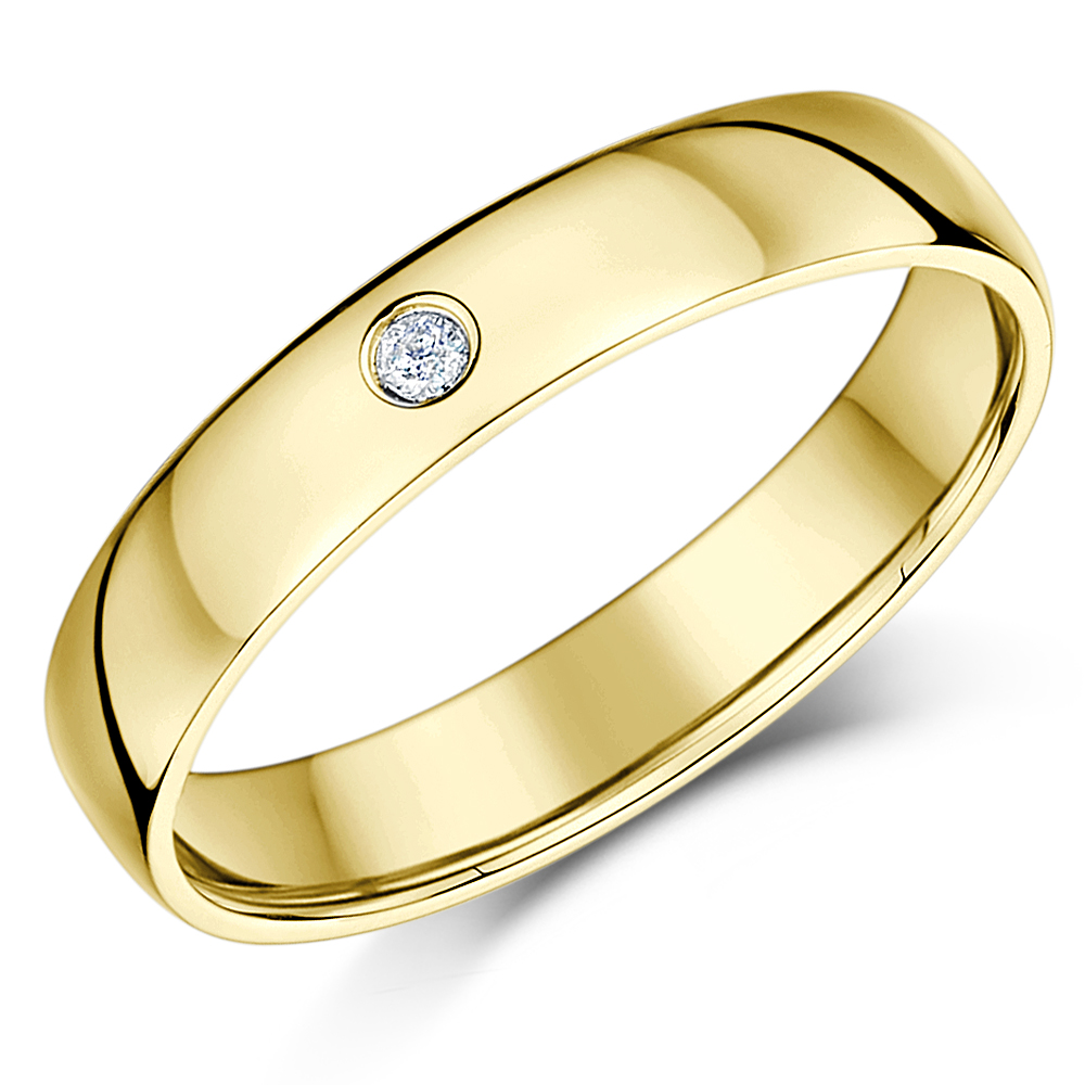 His&Hers 4&6mm 9ct Yellow Gold  Diamond Heavy Court Wedding Ring