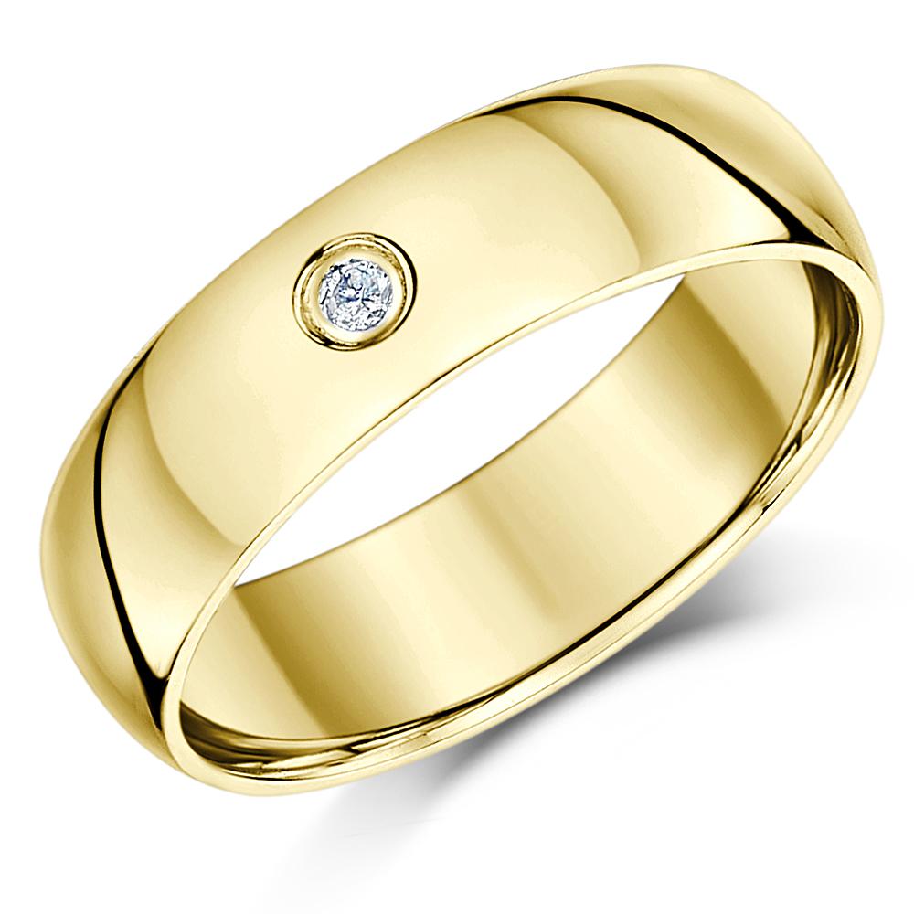 6mm 9 carat Heavy Weight Yellow Gold Diamond Wedding Ring