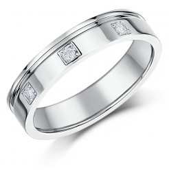 4mm 18ct White Gold Flat Court Diamond Wedding Ring