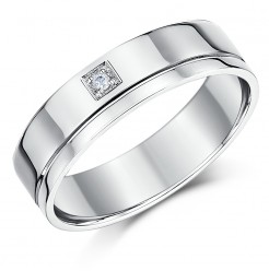 6mm 18ct White Gold Flat Court Diamond Wedding Ring