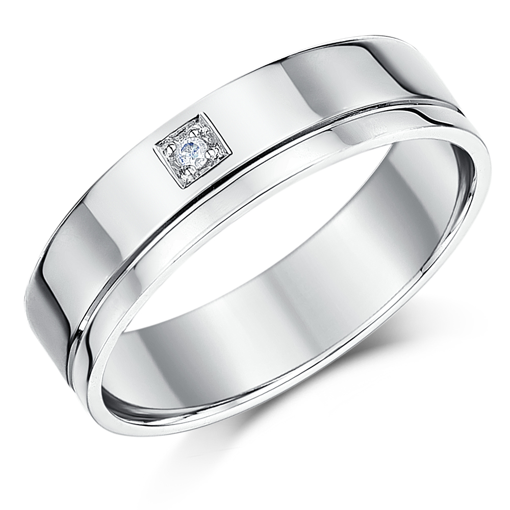 His Hers 46mm 18ct White Gold Diamond Wedding Rings 18ct White