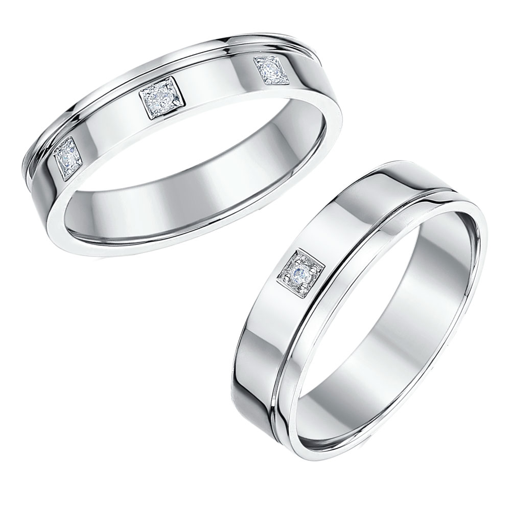 His Hers 4 6mm 18ct White Gold Diamond Wedding Rings 18ct White