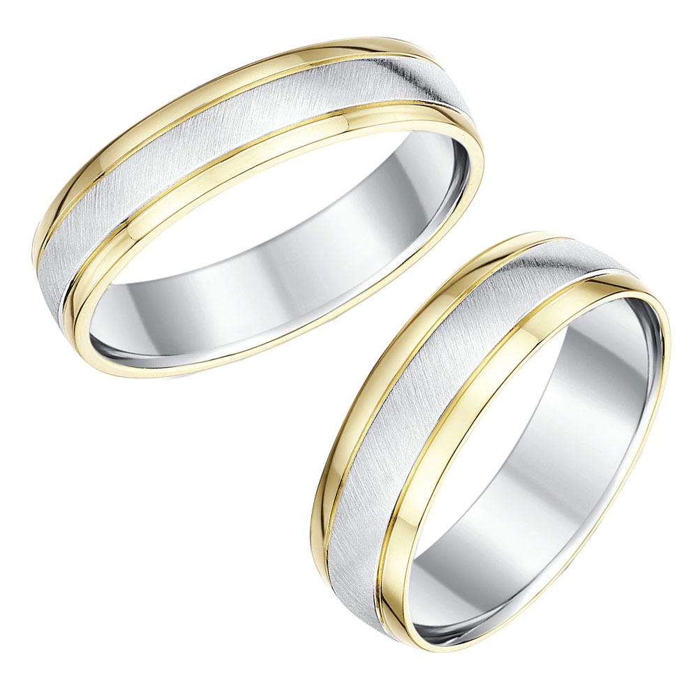 His hers 9ct yellow gold silver wedding rings 56mm for Wedding rings silver and gold