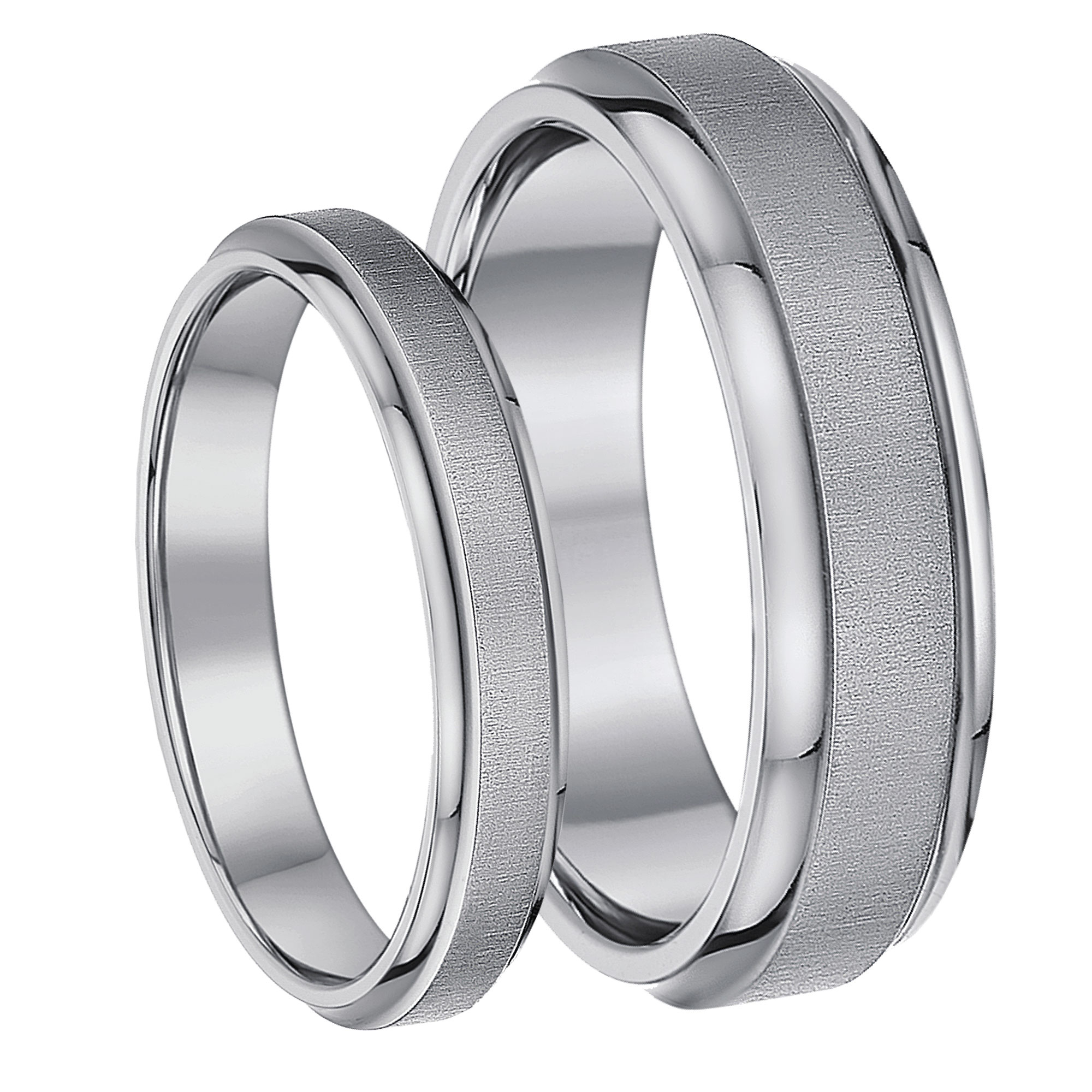 His & Hers Bands Satin Look Matt Polished Titanium Wedding Rings 4&6mm