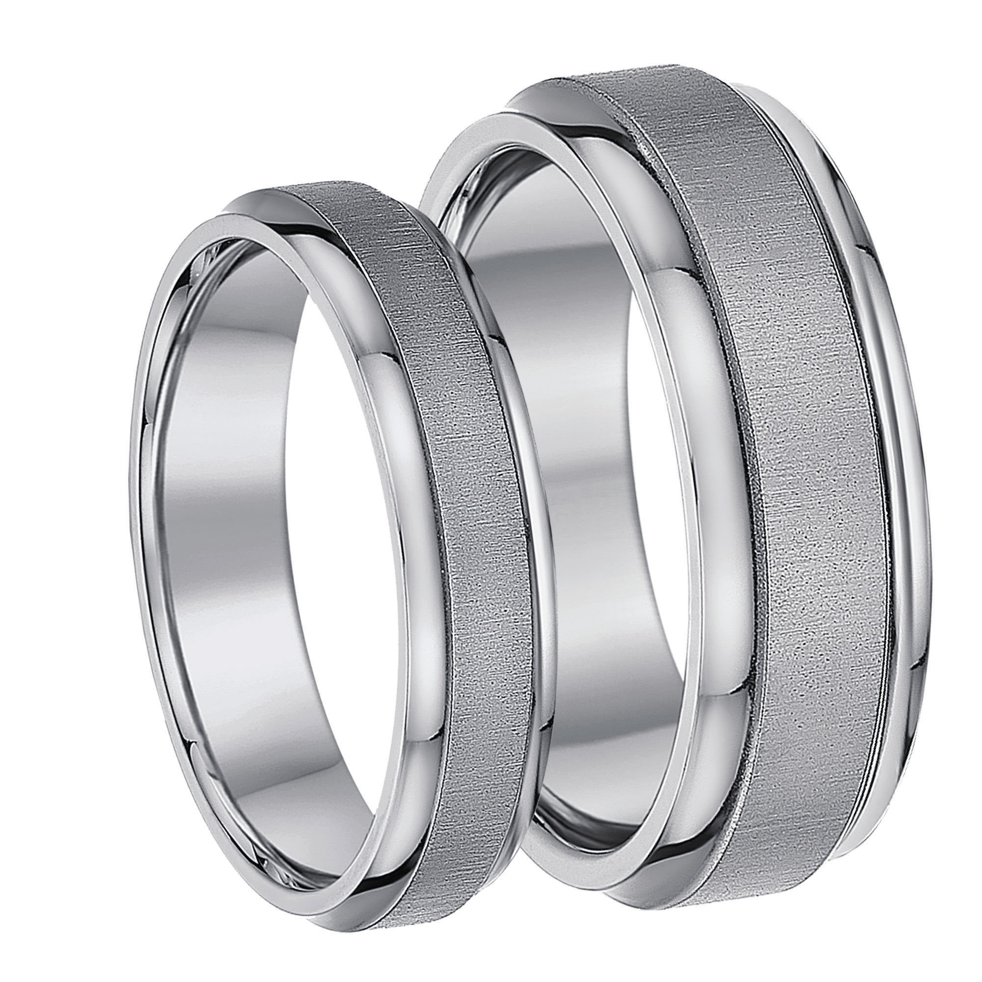 His & Hers Matching Rings Titanium Satin Look Designed Wedding Bands 5&7mm