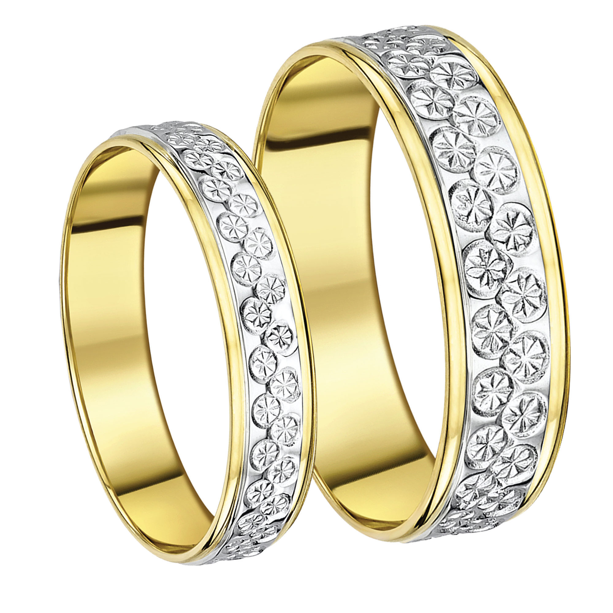 His & Hers 5&6mm 9ct Two Colour Designer Wedding Ring Band