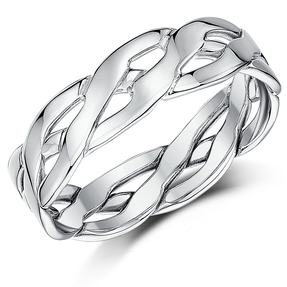 6mm 9ct White Gold Hand Made Celtic Ring