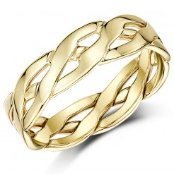 6mm 9ct Yellow Gold Hand Made Celtic Wedding Ring