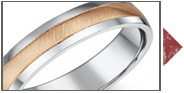 Silver & 9ct Two Colour Gold Wedding Rings