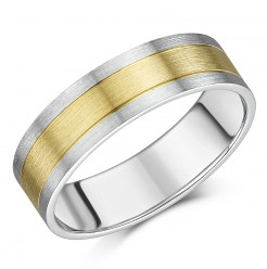 6mm 9ct Yellow Gold & Sterling Silver Two Tone Wedding Ring Band