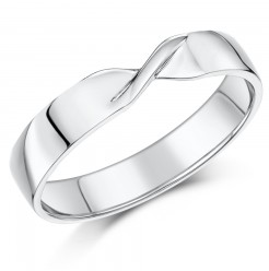 4mm 9ct White Gold Crossover Wedding Ring Band