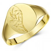 9ct Yellow Gold Oval Shape Engraved Signet Ring