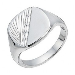 Men's Silver Signet Patterned Ring