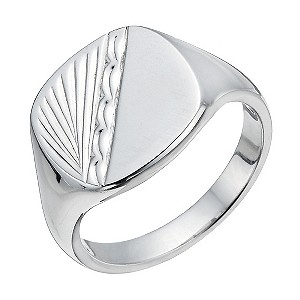 Men's Silver Signet Patterned Ring