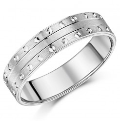 6mm Silver Flat Court Matt with Circles Design Ring