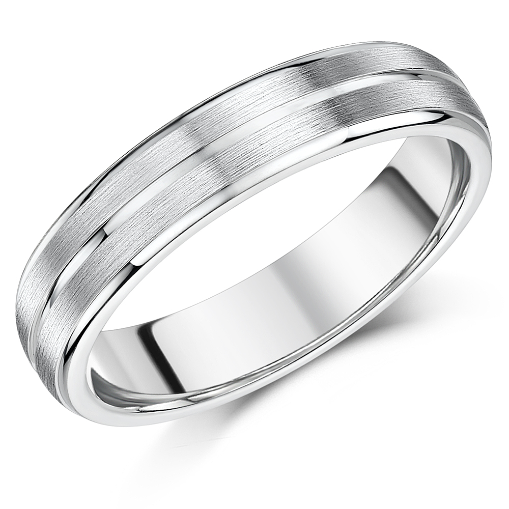 5mm Sterling Silver Wedding Band Matt & Polished Grooved Engagement Ring